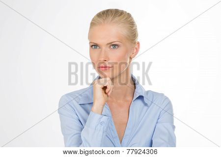 Careful Woman On Closeup