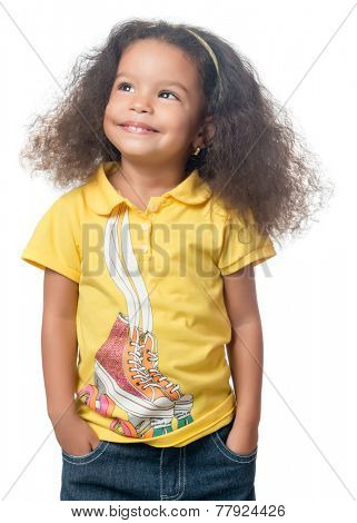 Cute small  african american girl standing with a smile isolated on white