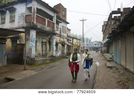 Teenagers go to school in Puthia Bangladesh.