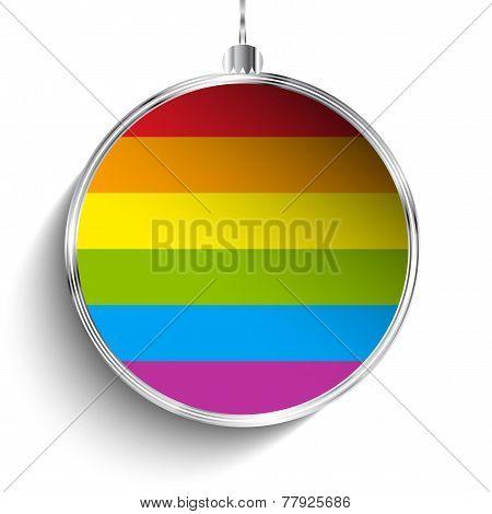 Gay Flag Merry Christmas Ball