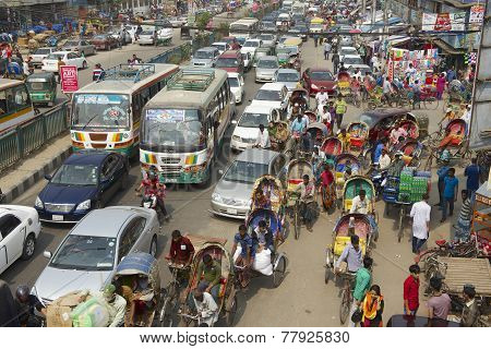 Traffic jam at the central part of the city in Dhaka, Bangladesh.