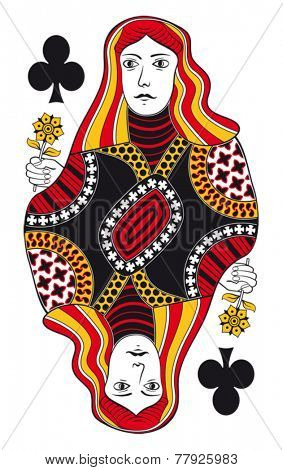 Queen of clubs without playing card background