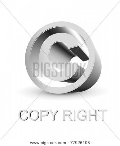3d Copy right symbol on white background
