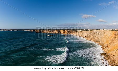 Overseeing the cliffs and waves at the south-west coast of Portugal