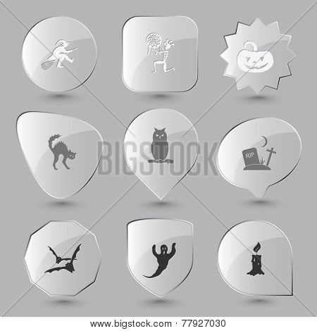Mystic signs set. Vector glass buttons.