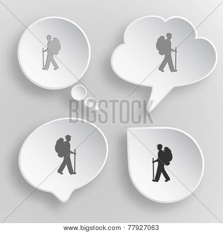 Traveller. White flat vector buttons on gray background.