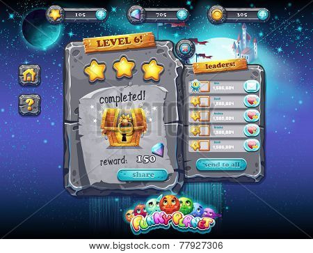 User Interface For Computer Games And Web Design With Buttons, Prizes, Levels And Other Elements. Se