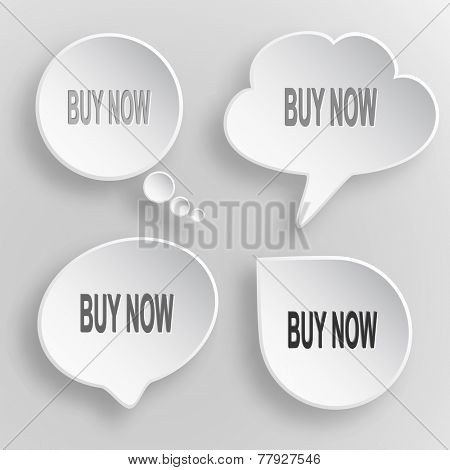 Buy now. White flat vector buttons on gray background.