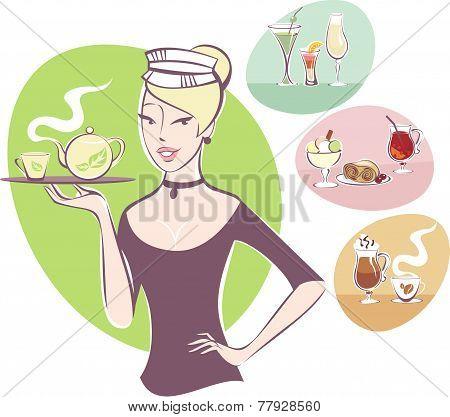 Waitress serving a pot of tea