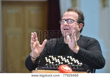 NOVOSIBIRSK, RUSSIA - DECEMBER 8, 2014: French accordionist Richard Galliano on the rehearsal during the festival Classics. The event joins the concert of the World music stars