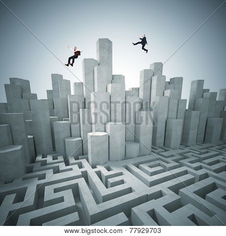 abstract tower and maze 3d with business people