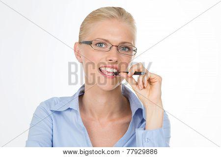 Smiling Clever Secretary On Closeup