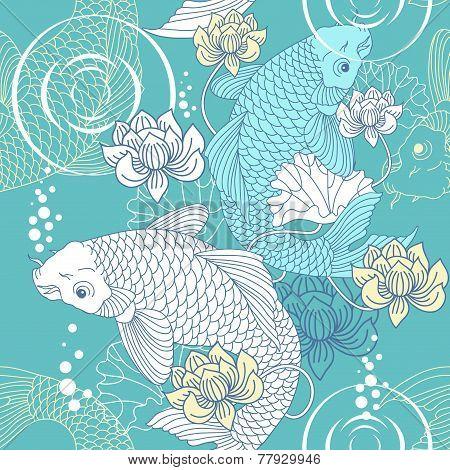 Koi carp seamless pattern