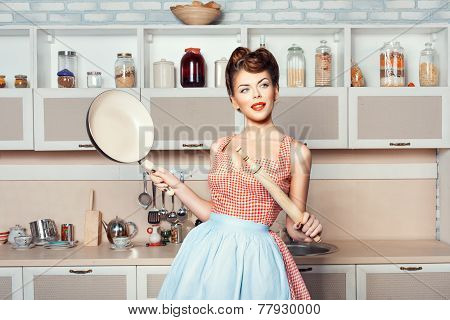 The Girl In The Hands Of A Rolling Pin Pan.