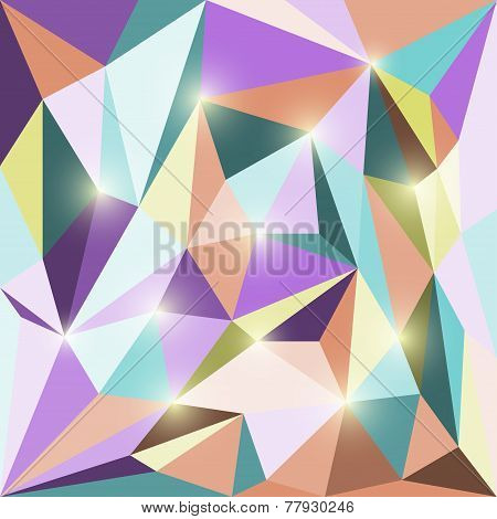 Abstract Bright Colored Polygonal Triangular Geometric Background With Glaring Lights
