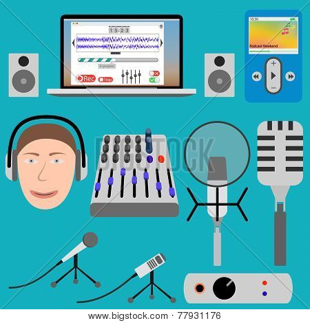 Equipment for podcasting and laptop player, microphone, mixer