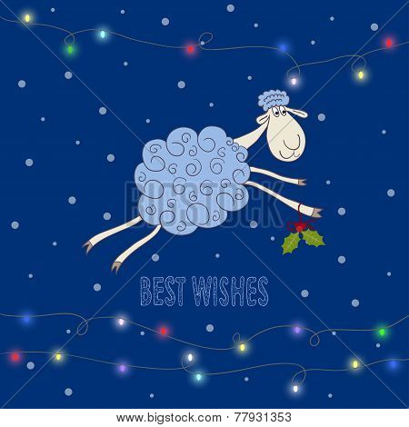 Winter Holiday Background With Hand-drawing Best Wishes And Blue Cartoon Cute Sheep