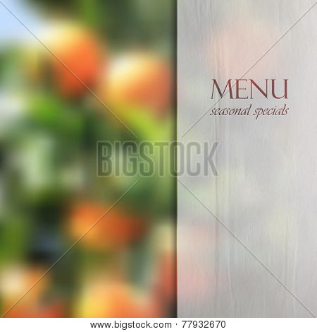 Restaurant menu design on blurred background of orange grove with semi transparent wrinkled paper te