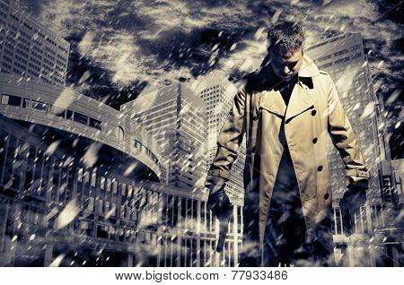 Killer Standing On Dark City Background To Kill