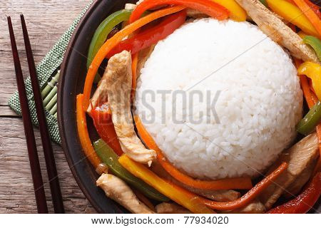 Asian Food: Chicken With Vegetables And Rice Top View
