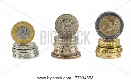 Stack Of Polish Zloty Pound And Euro Coins
