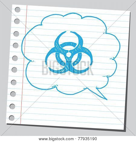 Bio hazard symbol sketch in comic bubble
