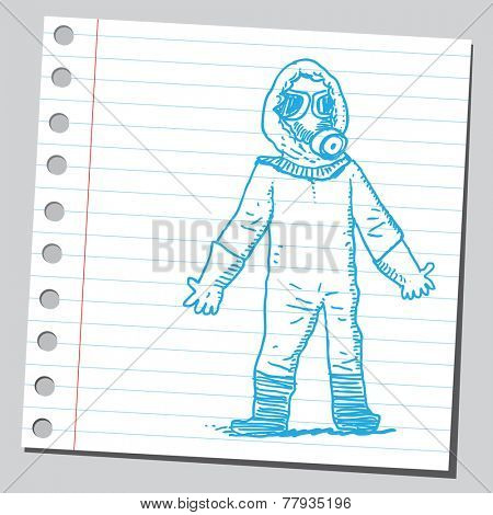 Man in bio hazard protection suit