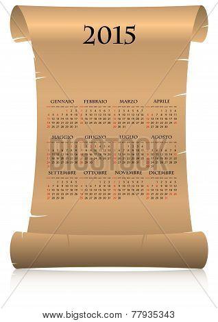 2015 Italian Calendar Parchment