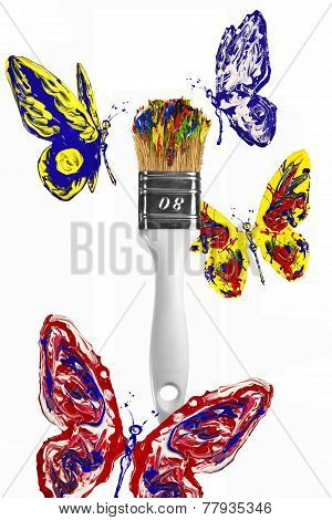 Red Blue Yellow Butterflies Flying Above Paintbrush