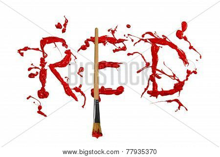 Red Paint Splash Painted Word Red