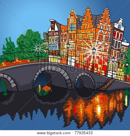 Vector Night City View Of Amsterdam Canal And Bridge