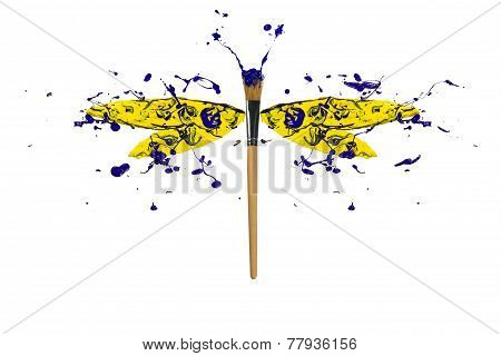 Yellow And Blue Paint Splash Made Dragonfly