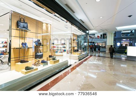 display window of fashion store in shopping mall.