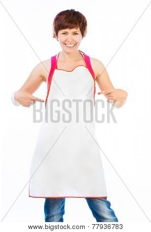Young beautiful woman in apron isolated on white