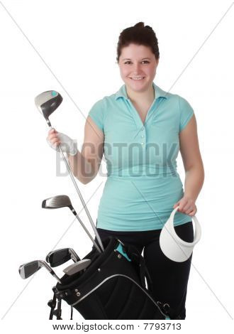 Young Brunette Female Golfer