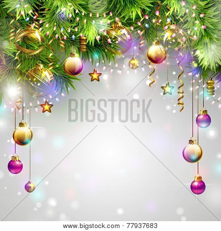 Christmas background with fir tree and evening baubles