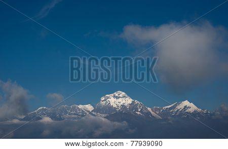 Snow mountain with blue sky