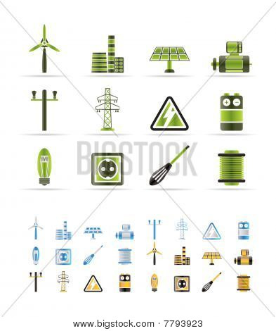 Iconos de electricidad y energía