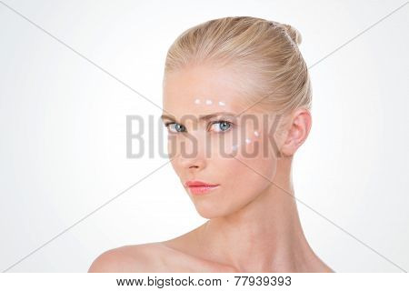 Nordic Girl Testing Salve On White Background
