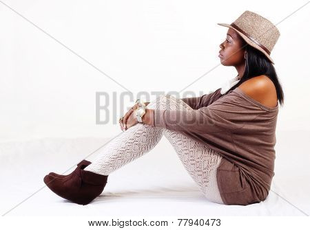 Attractive African American Woman Sitting Hat Stockings