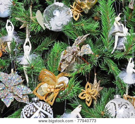 Christmas Tree Decorated With White Ballet Dancers