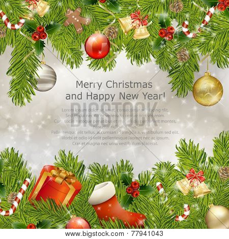 Xmas greeting card with fir branches and Christmas bells. Vector eps10 illustration