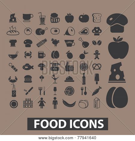 food, drink, vegetables, restaurant, menu icons, signs set, vector