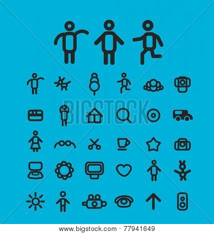 website icons, signs set, vector