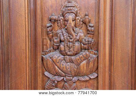 Ganesha On Teakwood Door