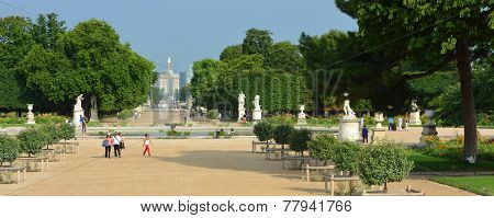 Panorama Of The Tuileries Gardens & Place De La Concorde, Paris France.