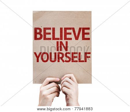 Believe In Yourself card isolated on white background