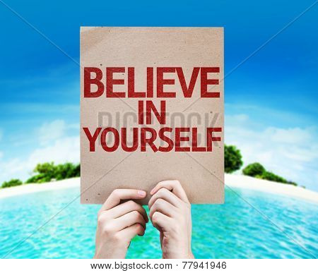 Believe In Yourself card with a beach on background