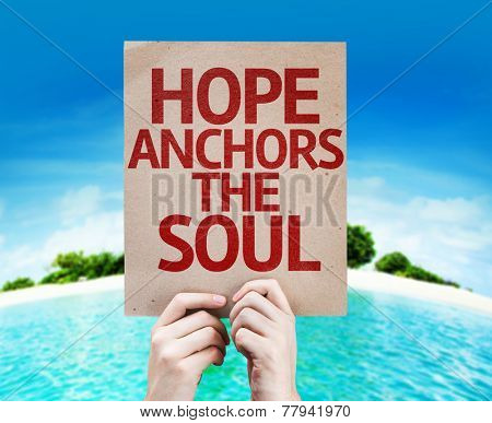 Hope Anchors the Soul card with a beach on background