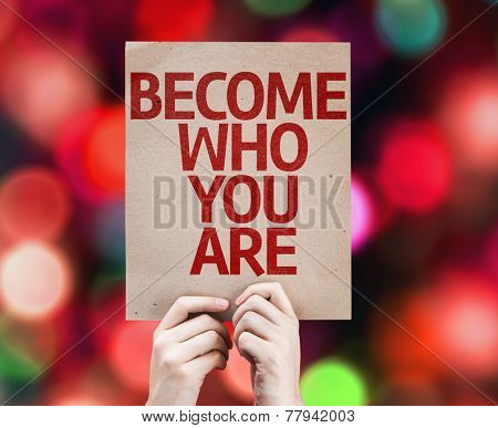 Become Who You Are card with colorful background with defocused lights